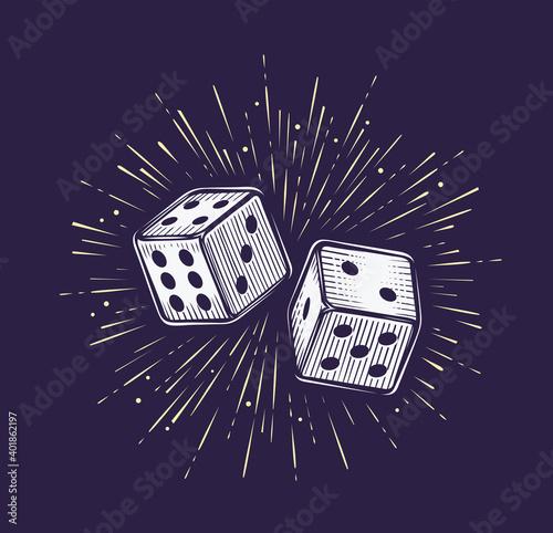 Foto Two dice. Gambling, casino concept vector illustration