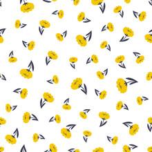 Seamless Pattern Of Cute Small Yellow Flowers