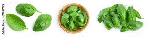 Fresh basil leaf isolated on white background with clipping path and full depth of field Fotobehang