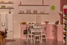Pink Dollhouse Kitchen