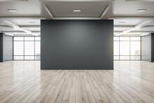 Minimalistic Gallery Interior With Empty Black Billboard