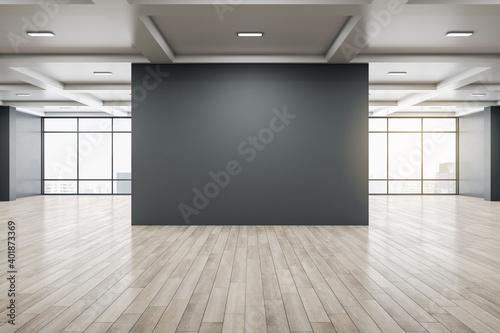 Minimalistic gallery interior with empty black billboard Fotobehang