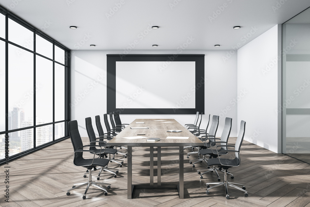 Fototapeta Bright meeting room interior with blank billboard on wall.