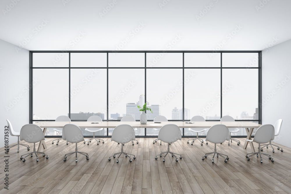 Fototapeta Bright conference interior with megapolis city view