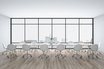 Bright conference interior with megapolis city view
