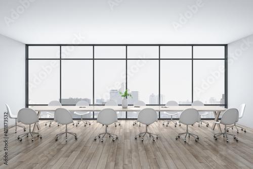 Fototapeta Bright conference interior with megapolis city view obraz