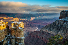 The Colorado River Stretches Off To The East In This Winter View Of The Grand Canyon From Navajo Point.