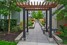 Walkway In Residential Area Between Two Rows Of Townhouses