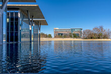 A Beautiful Shot Of The Fort Worth Art Gallery Across The Lake