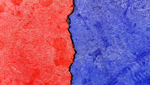 A Closeup Of Red And Blue Colored Background - Concept Conflicts Between Republican Party Versus Democratic Party