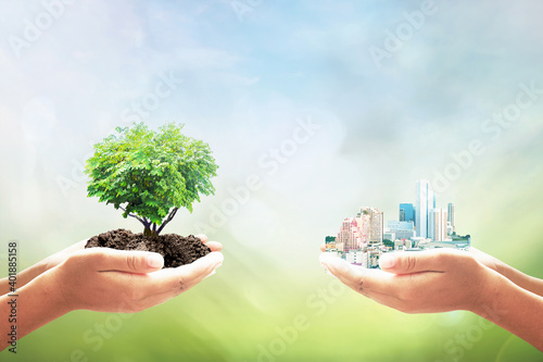Sustainable development goals (SDGs) concept: Two human hands holding tree and city over blurred nature background - fototapety na wymiar