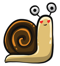 Cute Snail In Love, Illustration, Vector On A White Background.