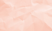 Soft Pink Colored Crumpled Paper Texture Background For Design, Decorative.