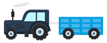 Tractor With A Trolly, Illustration, Vector On A White Background.