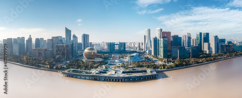 Obraz Aerial photography of the skyline of modern urban architectural landscape in Hangzhou, China.. - fototapety do salonu
