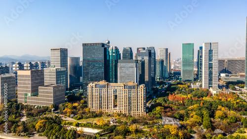 Obraz Aerial photography of the skyline of modern urban architectural landscape in Hangzhou, China.. - fototapety do salonu