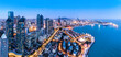 Aerial photography of night view of Qingdao, China..