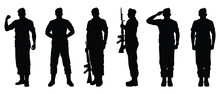 Set Of Soldier Silhouette Vector, Military Man Concept.
