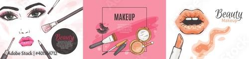 Obraz na plátně Set of banners for cosmetic shops and makeup artists, sketch vector illustration