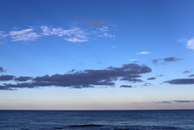 Rain Clouds In The Sky Over The Mediterranean Sea. December Is The Rainy Season In Israel