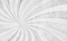 White Swirl Pattern In Retro Background Design With Old Grunge Texture And White And Gray Colors, Abstract Vintage Sunburst In Hippy Groovy Illustration