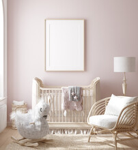 Mock Up Frame In Girl Nursery With Natural Wooden Furniture, 3D Render