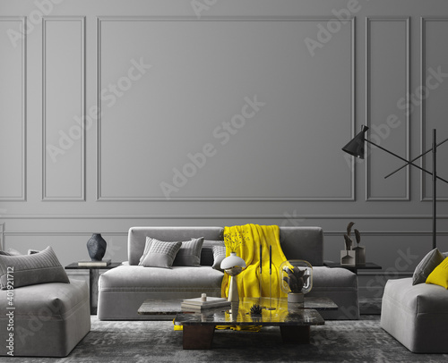 Obraz Elegant dark grey interior, colors of the year 2021, 3d render	 - fototapety do salonu