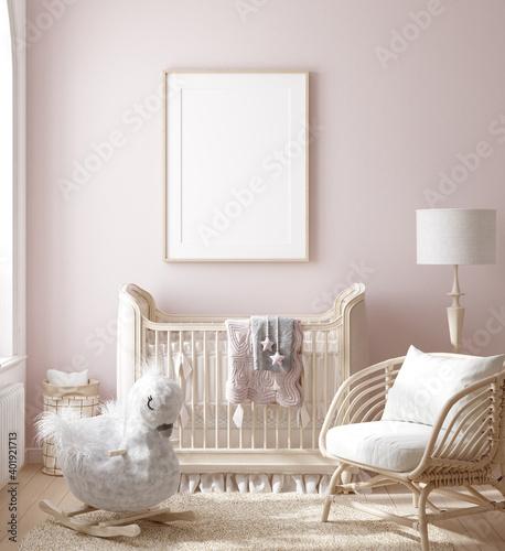 Mock up frame in girl nursery with natural wooden furniture, 3D render