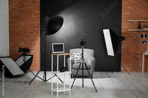 Fotografie, Obraz Interior of photo studio with modern equipment