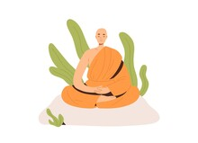 Peaceful Buddhist Monk In Robe Meditating In Lotus Posture With Closed Eyes. Meditation And Yoga Practicing. Zen And Nirvana Concept. Colored Flat Vector Illustration Isolated On White Background