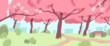 Empty Japanese Park During Cherry Blossom Season. Picturesque Landscape Of Beautiful Trees With Pink Flowers. Sakura Blooming At Springtime. Hanami Festival Time. Flat Vector Illustration