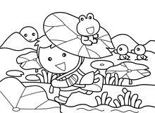 Little Boy Go To School With Green Frog Without Color