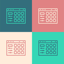 Pop Art Line Drum Machine Icon Isolated On Color Background. Musical Equipment. Vector.
