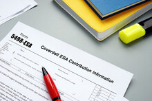Financial Concept About Form 5498-ESA Coverdell ESA Contribution Information With Sign On The Page.
