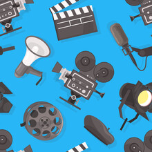 Filmmaking Seamless Pattern, Movie Production, Textile, Wallpaper, Wrapping Paper, Background Design Flat Vector Illustration