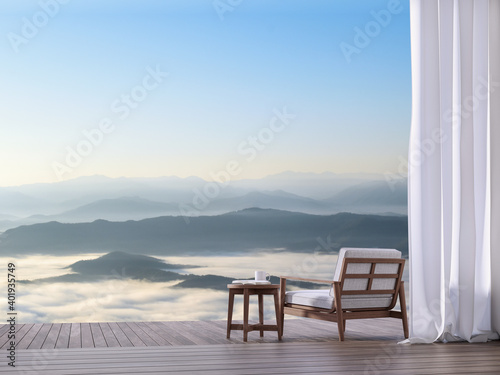 Wooden terrace with sea of fog view 3d render.There has wooden floor.Furnished with wood and fabric furniture.Looking out to mountains view in the morning.