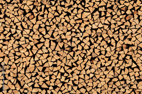 Fototapeta Holzstapel Unterstand - Hintergrund