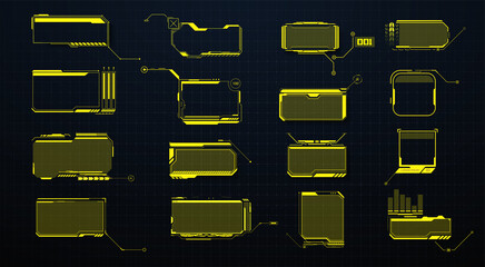 Fototapeta Koszykówka Callouts titles. Callout bar labels, information call box bars and modern digital info. Tech digital info boxes hud templates.HUD set frames. Futuristic modern user interface elements.High tech screen