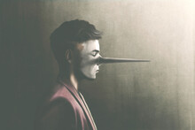 Illustration Of Portrait Of Cynical Liar Man With Long Nose, Surreal Concept