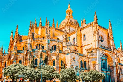 Obraz na plátně Landscape of the cathedral of Segovia, and Main Square (Plaza Ma