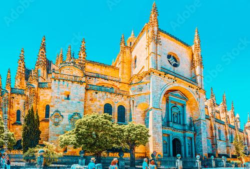 Fototapeta Landscape of the cathedral of Segovia, and Main Square (Plaza Ma