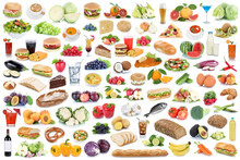 Food And Drink Collection Background Collage Healthy Eating Fruits Vegetables Fruit Drinks Isolated