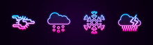 Set Line Fog And Sun, Cloud With Snow, Snowflake And Rain Lightning. Glowing Neon Icon. Vector.