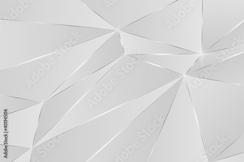 Fototapeta White luxury polygonal Christmas backdrops with silver lines in a minimalist style. Stylish geometric surfaces are colored in white that makes them simple and stylish. Poly reduction 3D effect. obraz