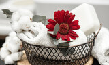 Fototapeta Kawa jest smaczna - Spa composition with bath accessories in a basket close up.