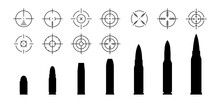 Bullets And Aims Collection. Weapon Cartridge And Target Set. Vector Illustration