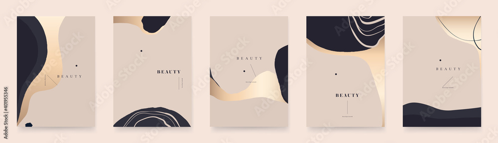 Fototapeta Modern golden abstract universal background templates. Minimalist aesthetic.