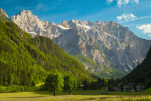 Alpine Landscape With Green Meadows And Mountains, Kamnik Alps, Slovenia