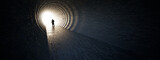 Fototapeta Perspektywa 3d - Concept or conceptual dark tunnel with a bright light at the end or exit as metaphor to success, faith, future or hope to new opportunity or freedom 3d illustration