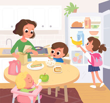 Family Having Breakfast In The Kitchen. Mother Feeding Kids. Vector Portrait Of Whole Family, All Members Gather Together At Home In The Kitchen In House Interior. Refrigerator, Fridge With Food.